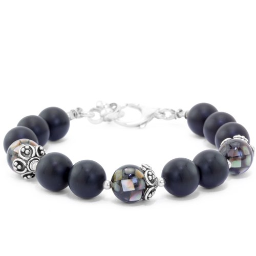 The Goddess Collection Onyx & Mother of Pearl Bracelet