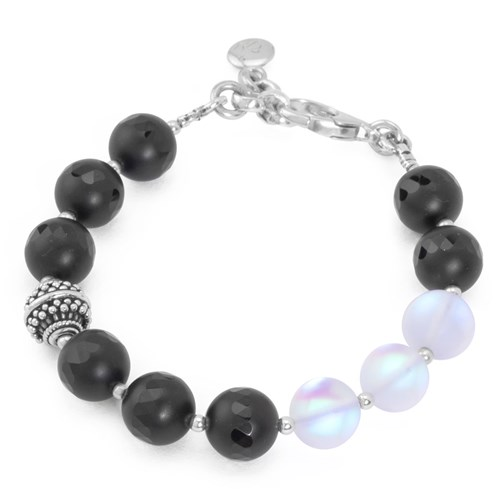 Lollies Collection Black Agate & Matte Glass Bracelet 10818B