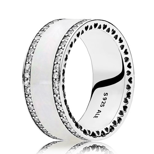 PANDORA Hearts of PANDORA, Silver Enamel & Clear CZ Ring