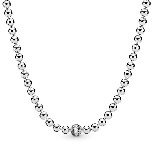 Pandora Beads & Pavé Necklace 398565C01
