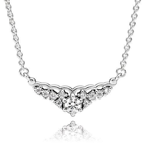 PANDORA Fairytale Tiara CZ Necklace Detail