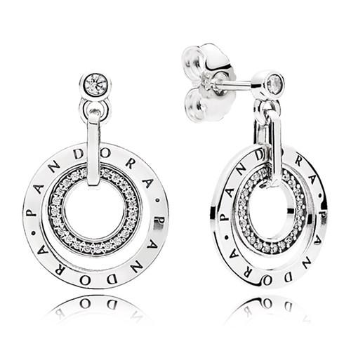 Pandora Circles Clear Cz Drop Earrings
