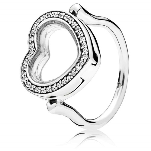 Sparkling PANDORA Floating Heart Locket Ring 197252CZ