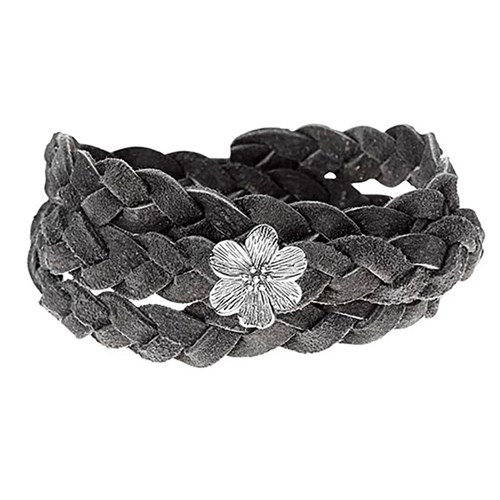 STORY by Kranz & Ziegler Triple Wrap Silver Flower Grey Braided Suede Bracelet RETIRED ONLY 1 LEFT!