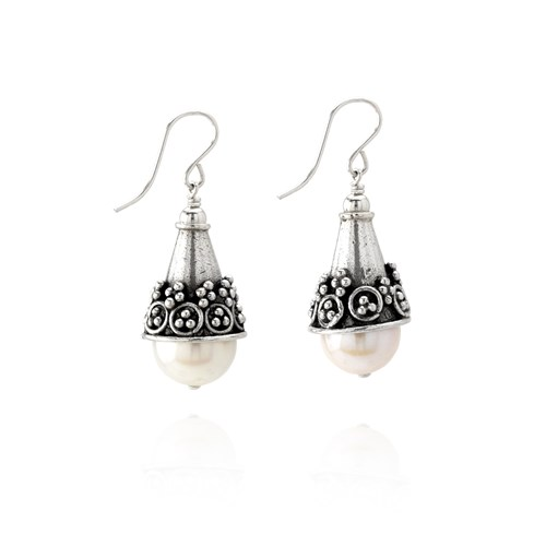 Elisa Ilana Granulated Sterling Silver and Pearl Earrings