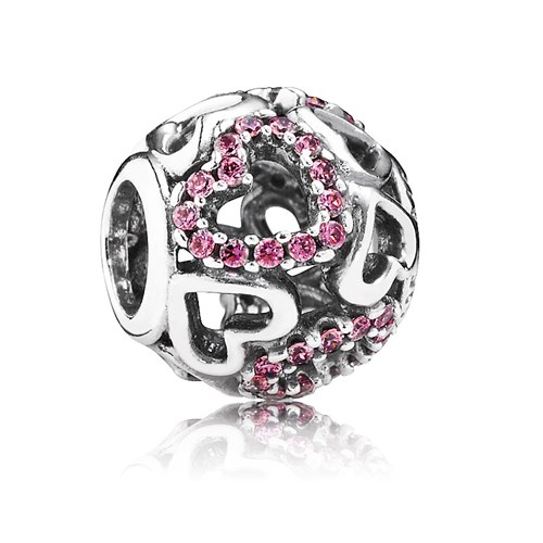 PANDORA Falling in Love with Fancy Pink CZ Openwork Charm