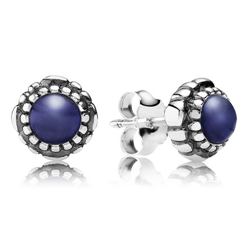 PANDORA Lapis September Birthday Bloom Stud Earrings