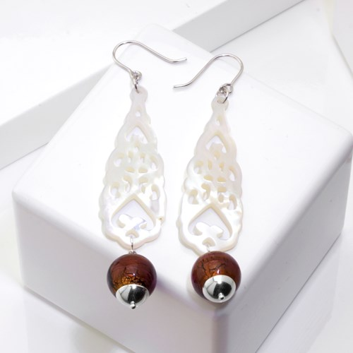 Goddess Collection Mother of Pearl & Glass Earrings 10857E