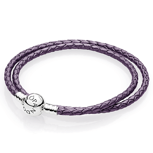 PANDORA Purple Braided Double-Leather Charm Bracelet