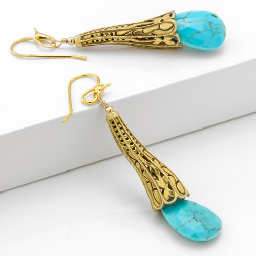 Impressionist Collection Turquoise & Gold Dangle Earrings 10714E