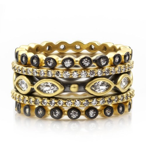 Freida Rothman Marquise Beaded Ring Set