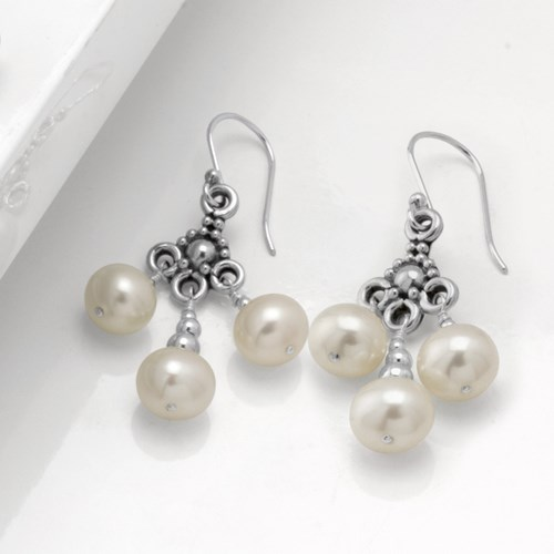 Impressionist Collection Dangling Pearl Earrings 10867E