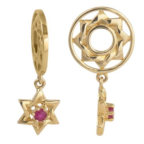 Storywheels Ruby Star of David Dangle 14K Wheel