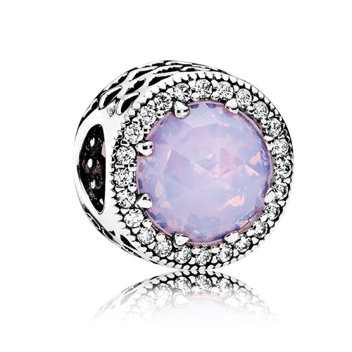 PANDORA Radiant Hearts Opalescent Pink Crystal CZ Button Charm