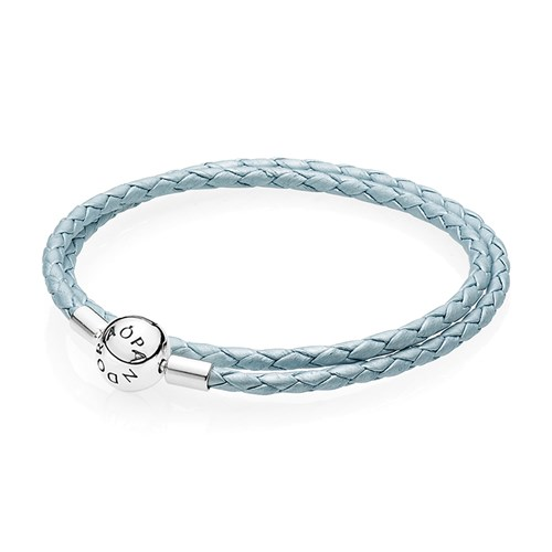PANDORA Light Blue Double Braided Leather Bracelet