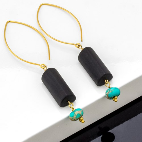 Impressionist Collection Matte Onyx & Turquoise Earrings 10902E