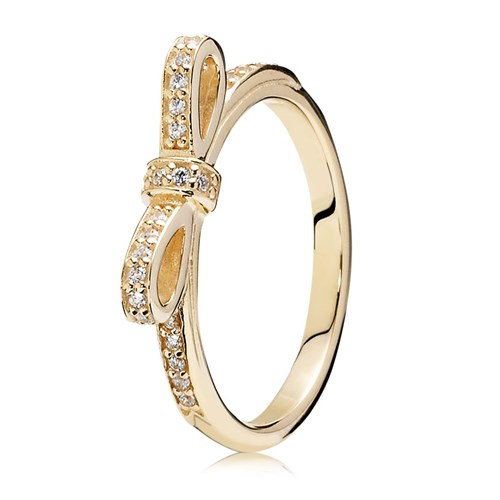 PANDORA 14K Sparkling Bow with Clear CZ Ring