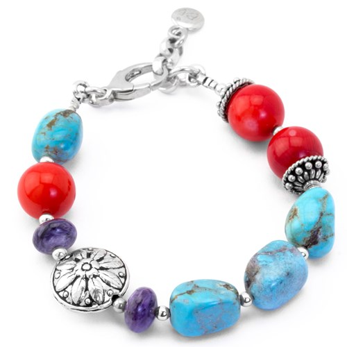 Lollies Turquoise & Coral Bracelet 10646B
