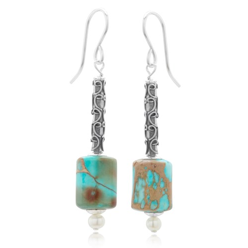 Turquoise Tube Dangle Earrings  10683E