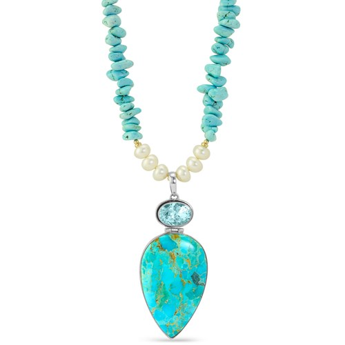 Impressionist Collection Turquoise & Pearl Necklace