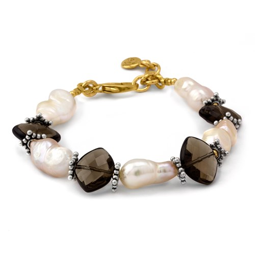 Elisa Ilana Five-Pointe Smokey Quartz and Peanut Pearl Bracelet