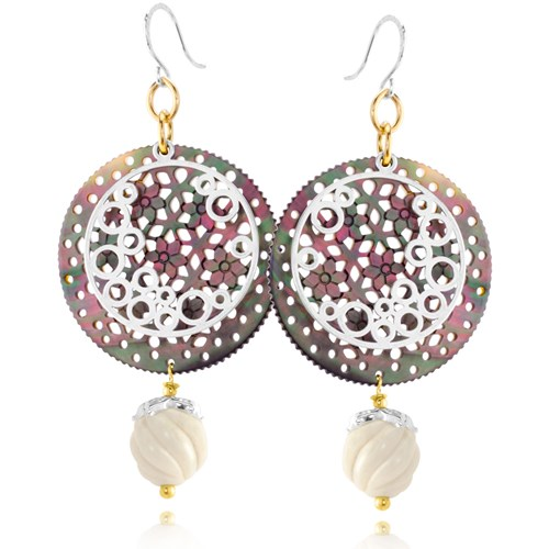 The Goddess Collection Mother of Pearl & Bone Earrings