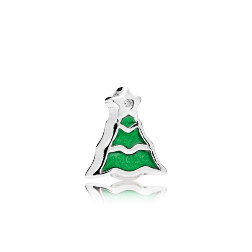 PANDORA Christmas Tree Green Enamel CZ Petite Locket Charm 796395EN25