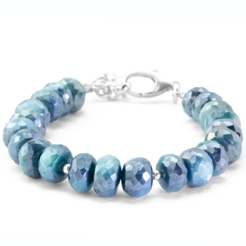 Elisa Ilana The Goddess Collection Teal Coated Moonstone Bracelet 10550B