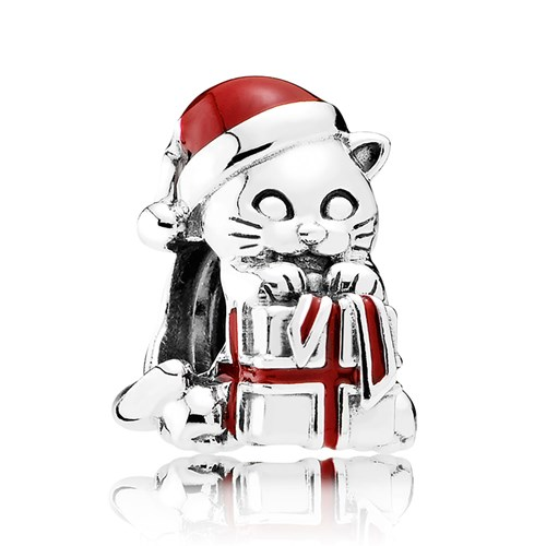 PANDORA Christmas Kitten Berry Red Enamel Charm