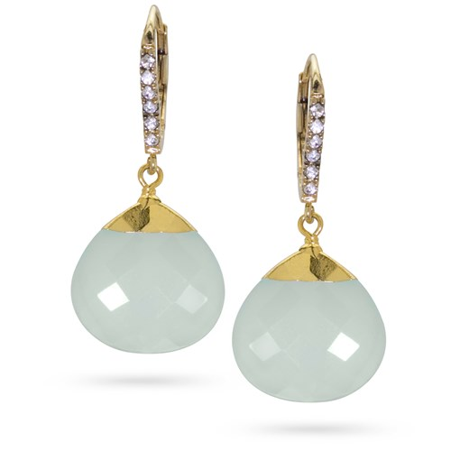 Ocean Chalcedony Drop Earrings