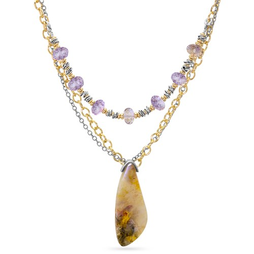 The Goddess Collection Plume Agate & Ametrine Necklace
