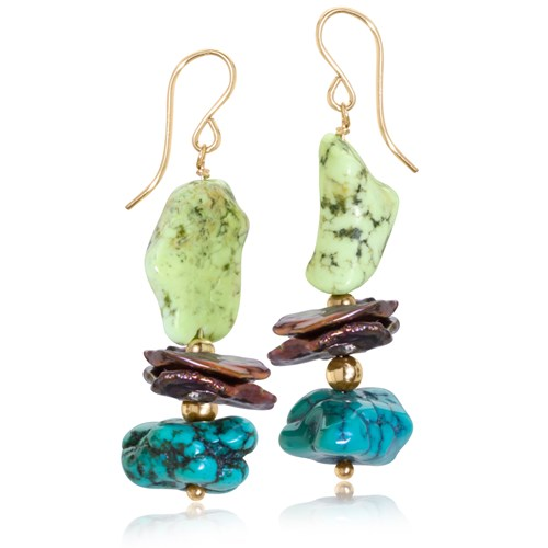 Turquoise & Keshi Pearl Drop Earrings 10959E
