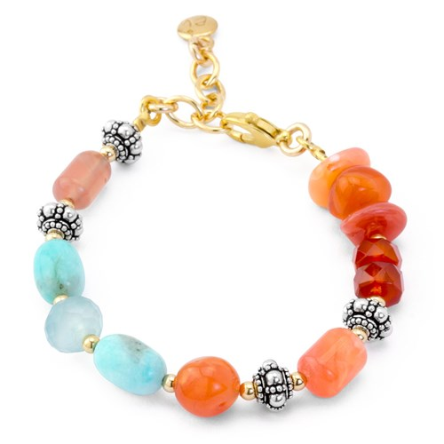 Impressionist Collection Carnelian & Amazonite Bracelet 10826B