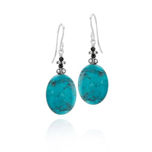 Turquoise & Black Spinel Earrings