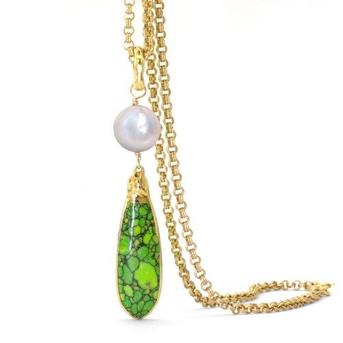 Green Turquoise & Pearl Necklace 10993N