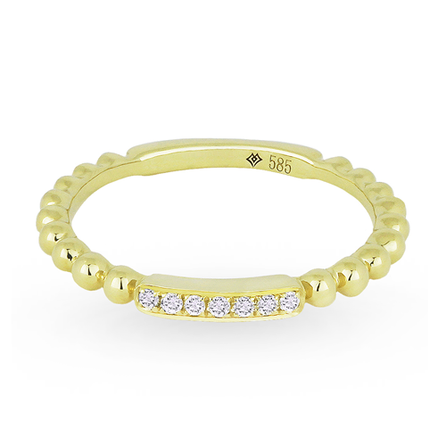 Diamond 14K Bubble Stack Ring