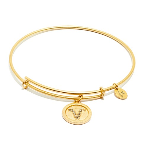 Chrysalis Initial V Gold Bangle