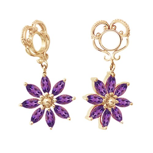 Storywheels Amethyst Poinsettia Dangle 14K Gold Wheel