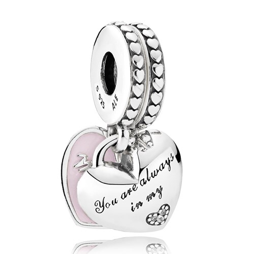 PANDORA Mother & Daughter Hearts, Soft Pink Enamel & Clear CZ Drop Charm