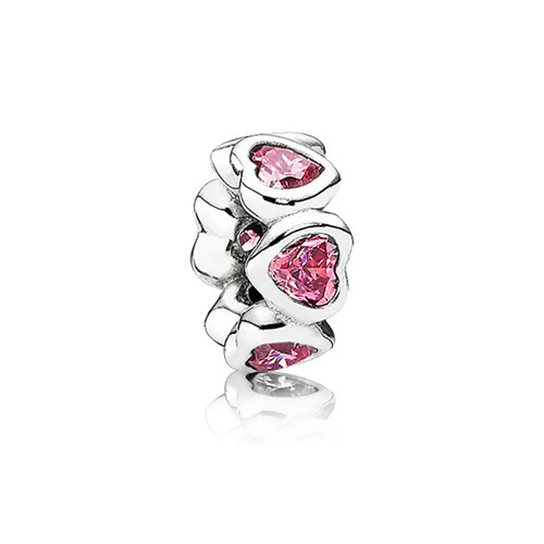 PANDORA Space In My Heart with Fancy Pink CZ Spacer
