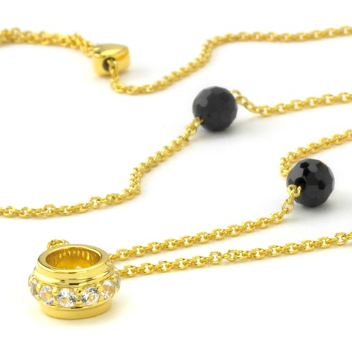 Petra Azar Onyx Gold Chain with Ring Detail