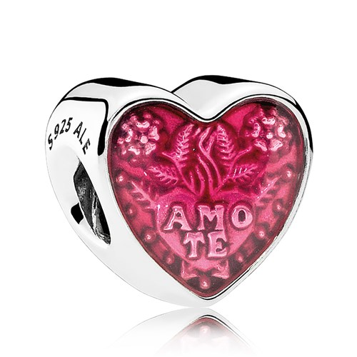 PANDORA Latin Love Heart, Transparent Cerise Enamel Charm