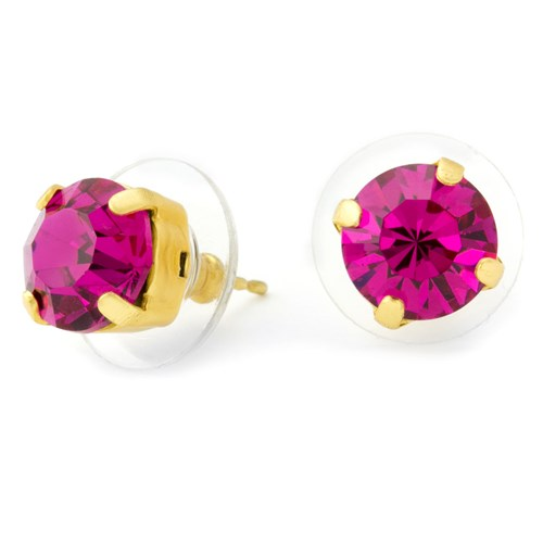 Mariana Fuchsia Stud Earrings Gold