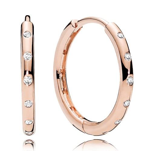 Pandora Rose Gold Cz Droplets Hoop Earrings