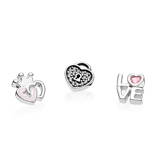 PANDORA Forever Hearts Petites with Soft Pink Enamel & Clear CZ