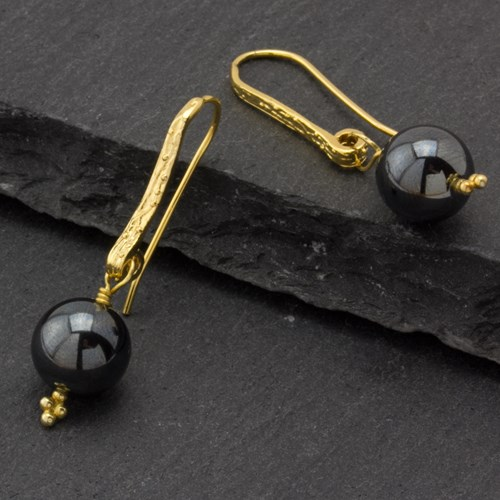 The Goddess Collection Hematite & Gold Earrings
