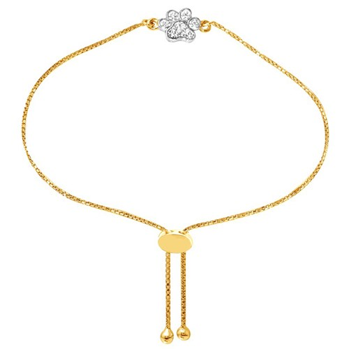 Paw CZ Petite Friendship Bracelet Gold