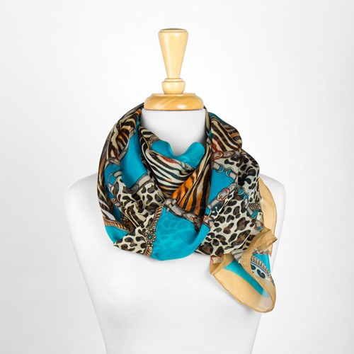 Multi Animal Print Silk Scarf