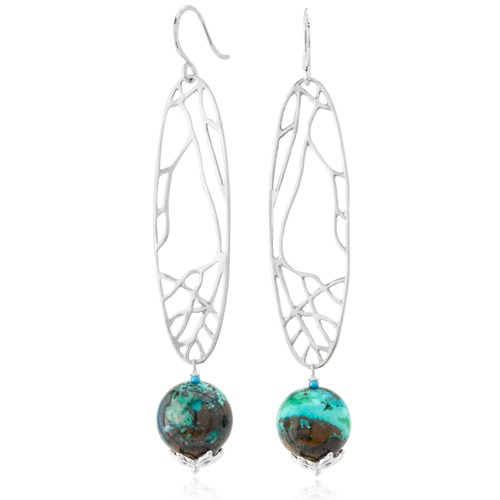 The Goddess Collection Chrysocolla Wing Earrings
