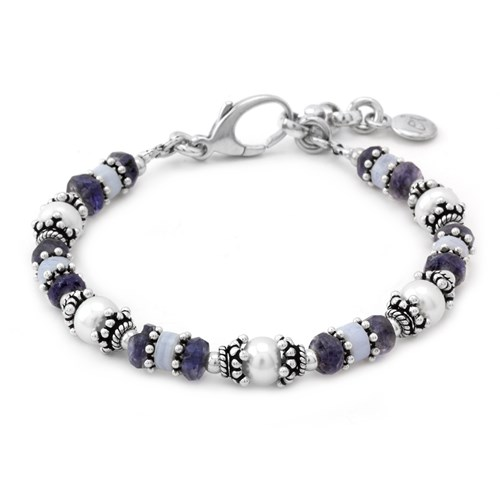 Blue Lace Agate, Iolite and Pearl Bracelet